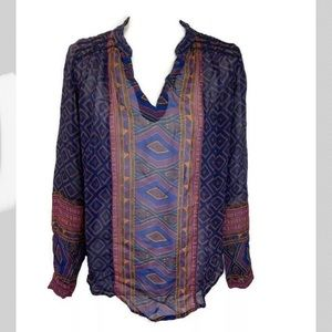 Lucky Brand Women geo print long sleeve tunic Sz M
